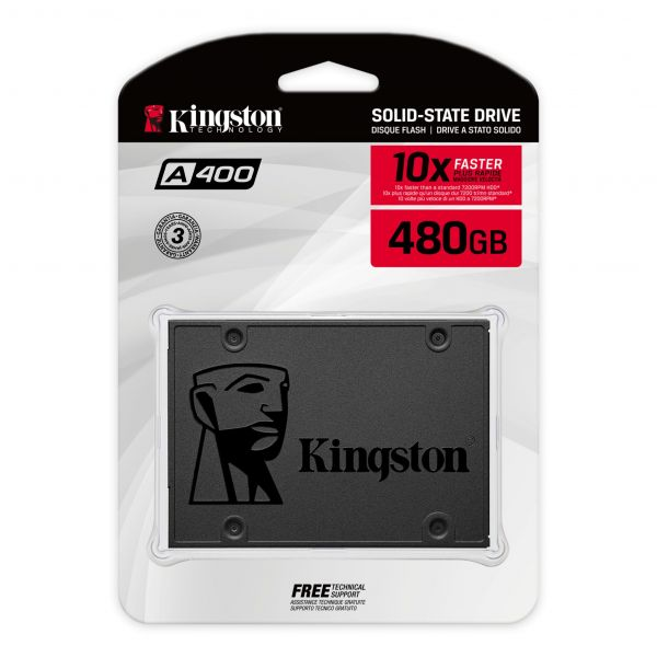 DISCO SSDKINGSTON  2.5 SATA  A400 480GB TLC NAND STANDALONE DRIVE READ 500MB/S AND WRITE 450MB/S